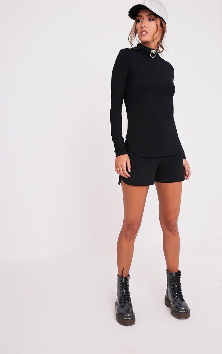 Basic Black Jersey Runner Shorts