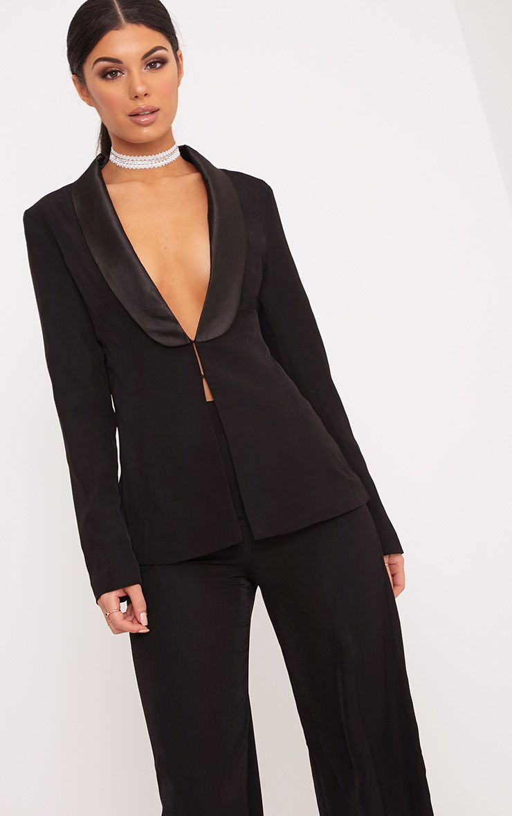 Elnie Black Satin Lapel Suit Jacket