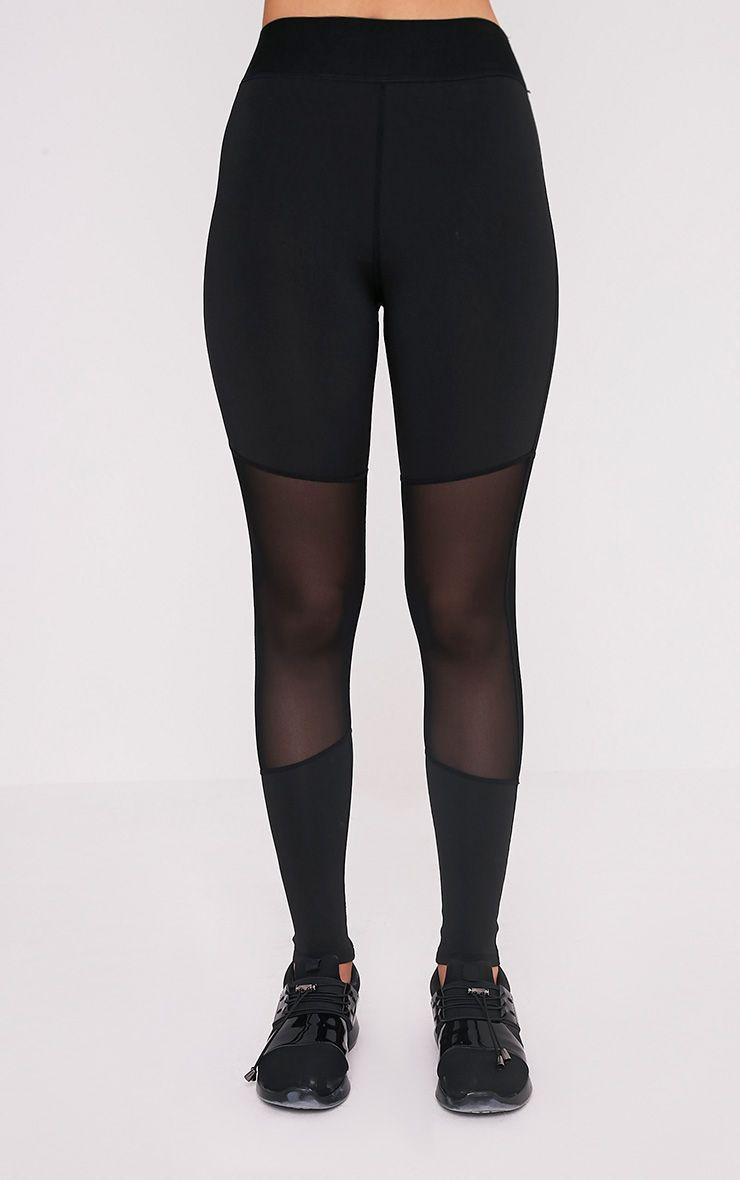 Leona Black Mesh Panelled Gym Leggings 2