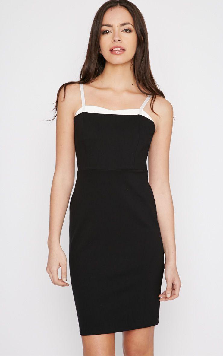 Sasha Black Strappy Bodycon Dress 1
