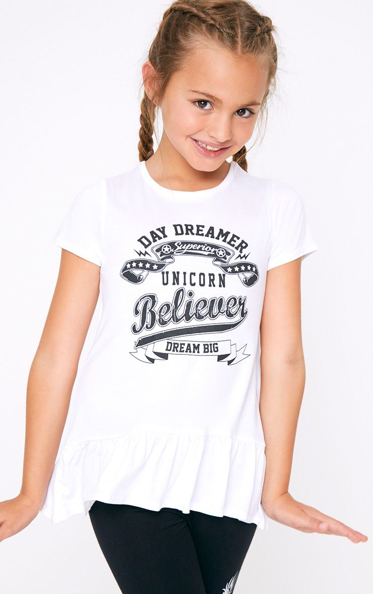 White Frill Hem Printed T Shirt
