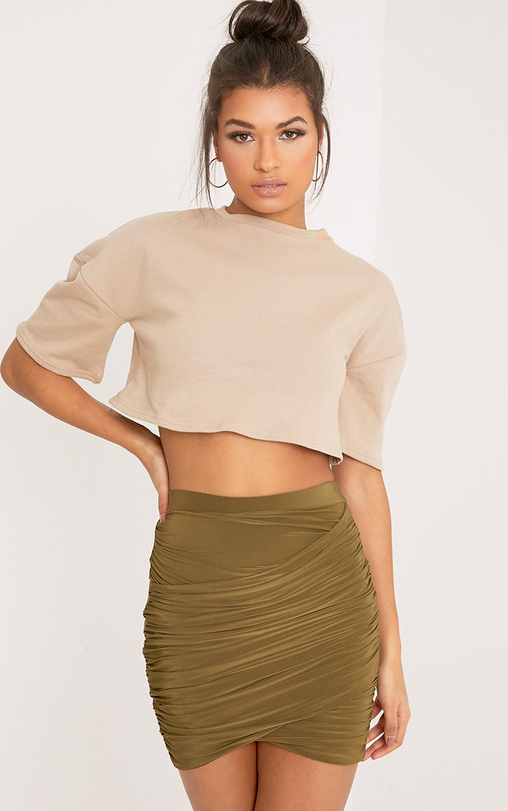 Sabina Khaki Ruched Layered Mini Skirt