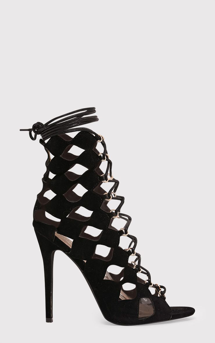 Chey Black Geometric Cut Out Lace Up Heels