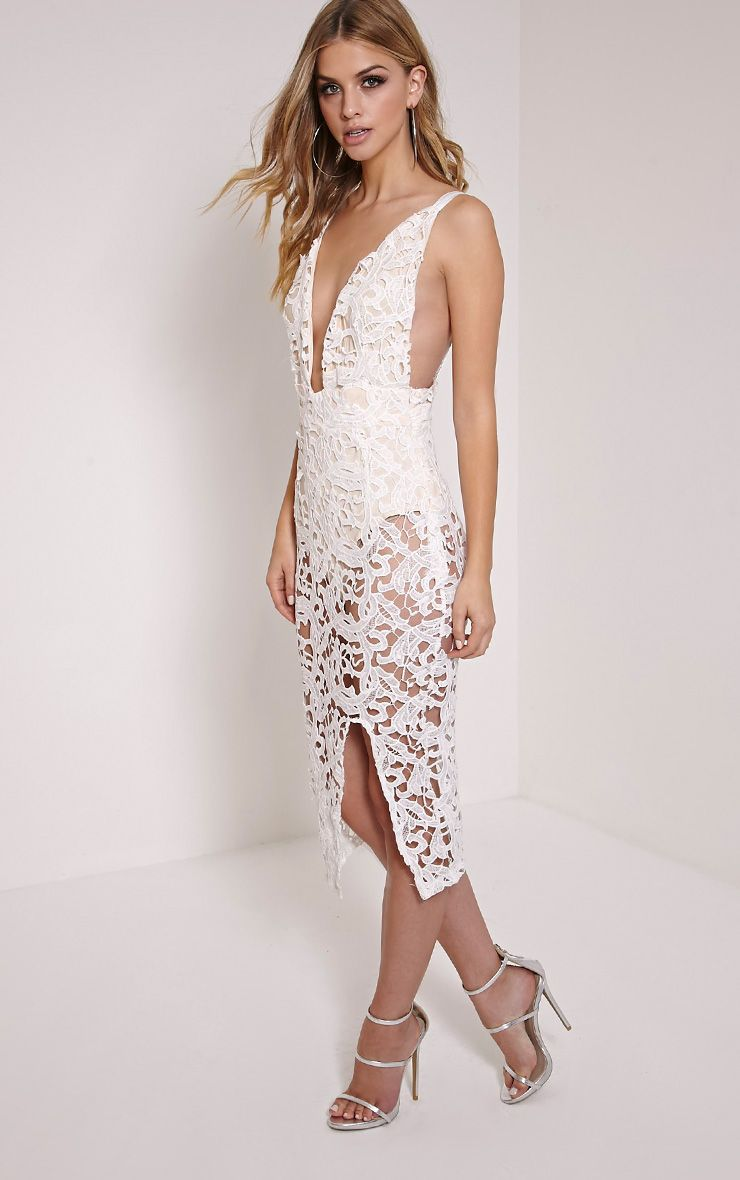 Luinna Cream Crochet Lace Plunge Midi Dress 1
