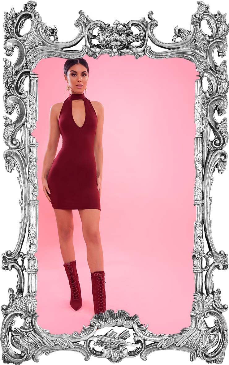 Burgundy High Neck Plunge Bodycon Dress