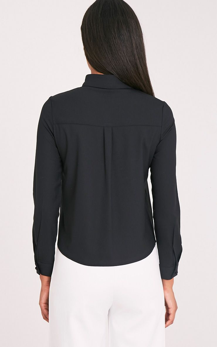 Loulou Black Crop Long Sleeve Shirt