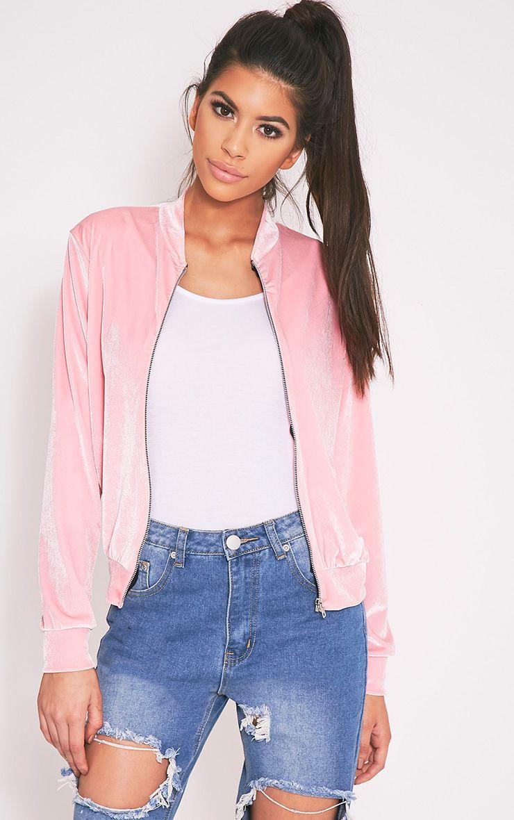 Samirah Baby Pink Velvet Bomber Jacket 1