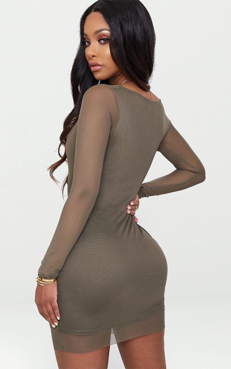 Visit New Cheap Price Cheap 2018 Unisex PRETTYLITTLETHING Shape Khaki Mesh Square Neck Bodycon Dress ESm7dAb