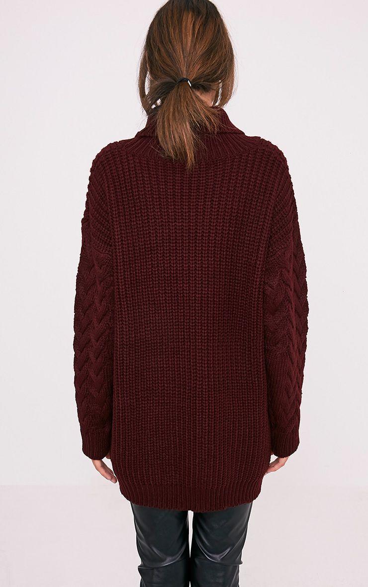 Finolla pull à manches en tricot torsadé surdimensionné bordeaux 2