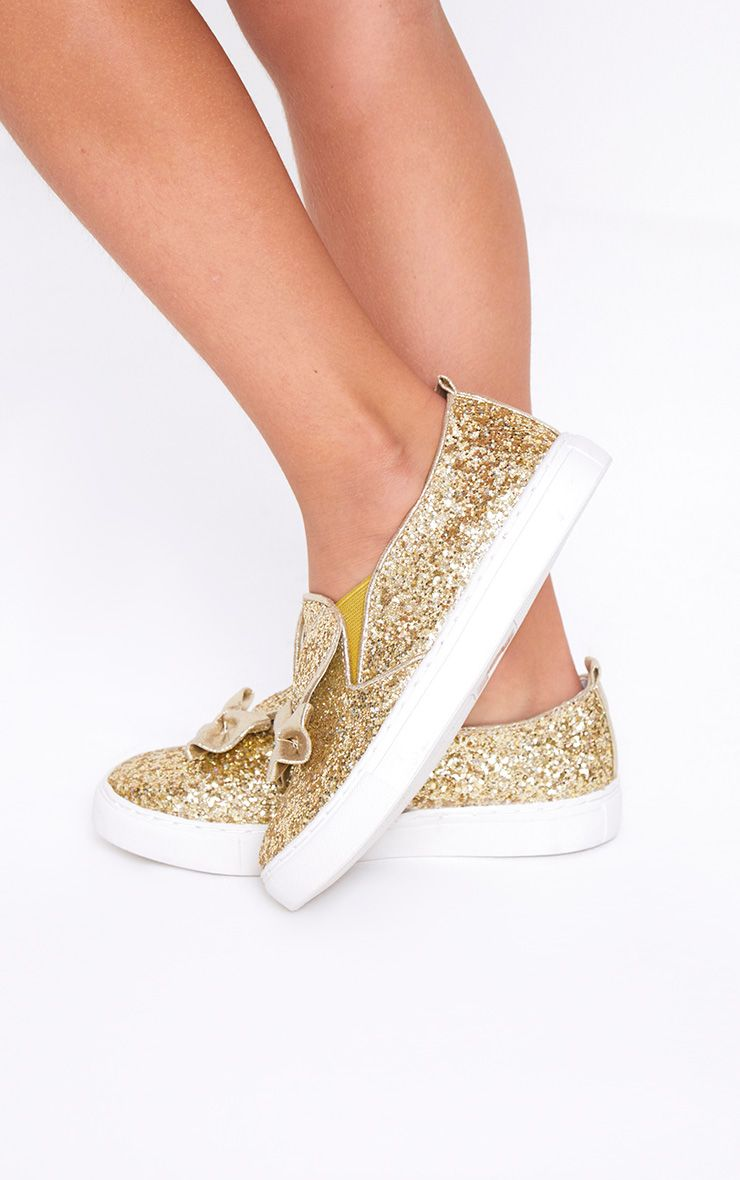 Gold Glitter Bunny Ear Trainers