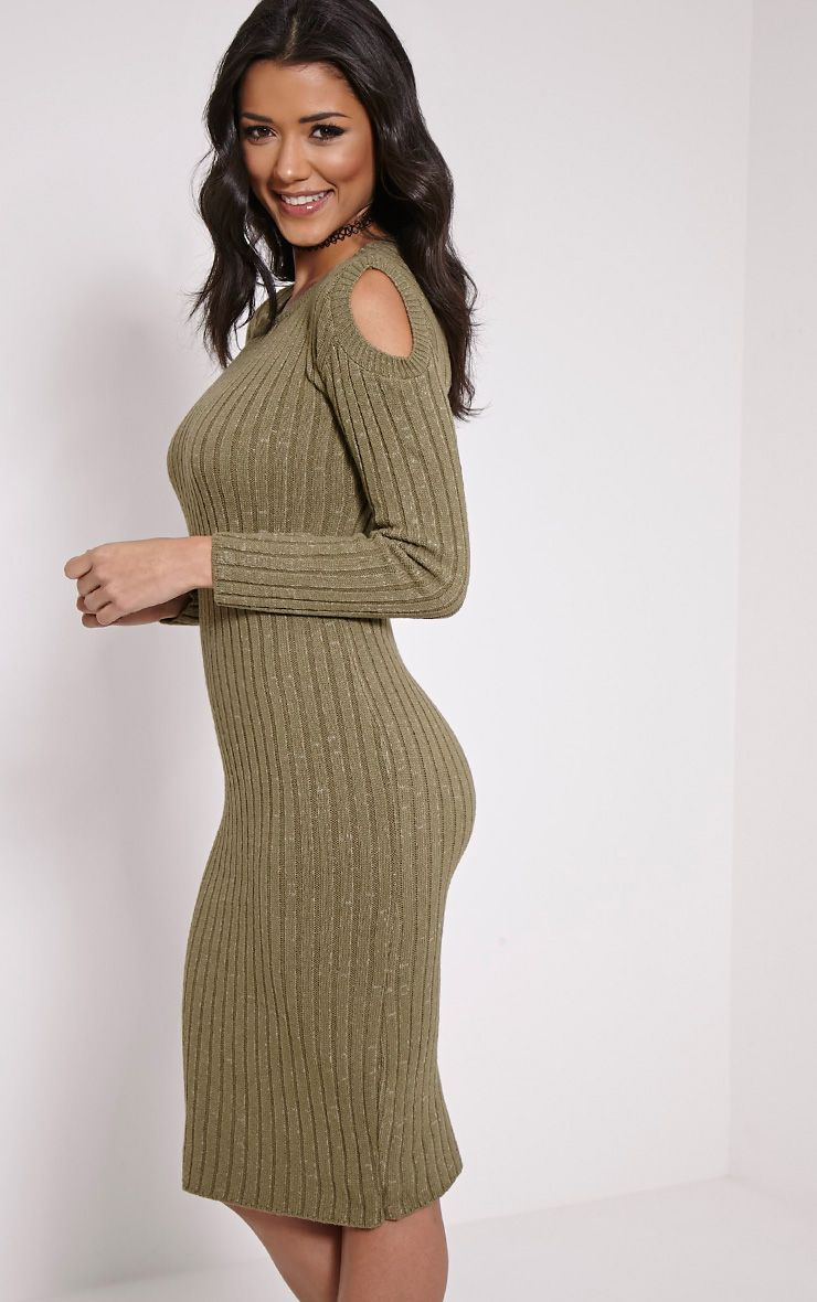 Paloma Khaki Ribbed Cut Out Shoulder Knitted Dress 1