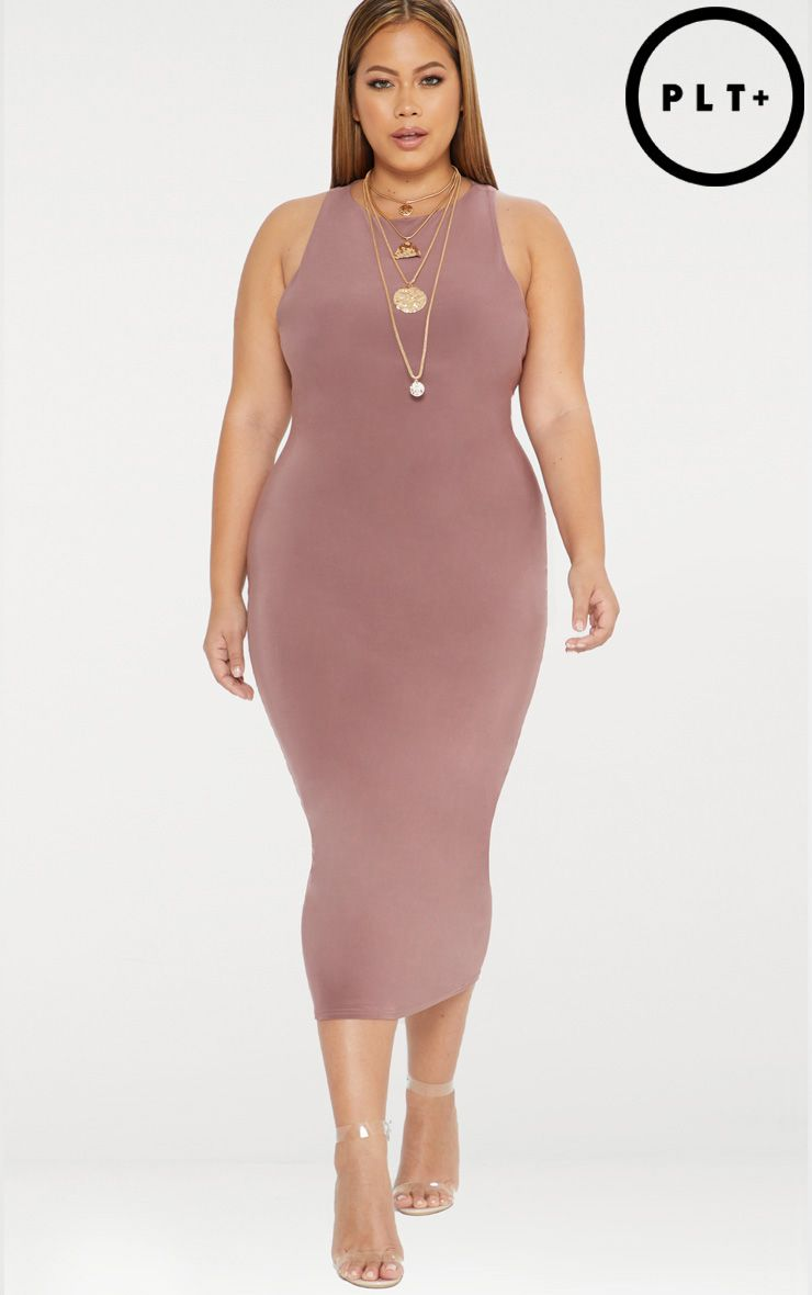 Plus Dark Mauve Second Skin Double Layered Slinky Racer Neck Midaxi Dress
