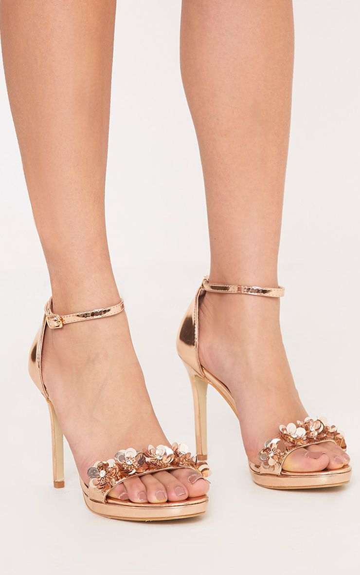 Ayshea Rose Gold Embellished Strappy Heels