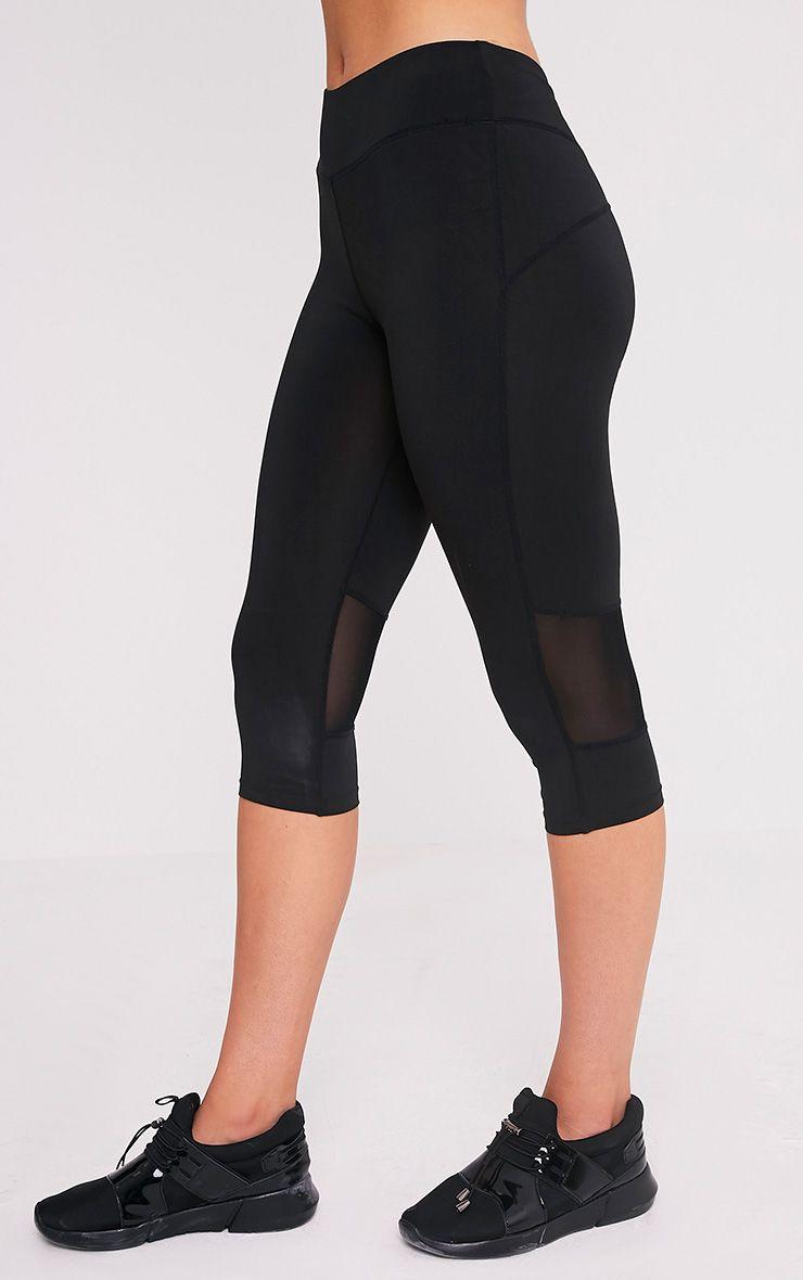 Miah legging de sport court à empiècements en tulle noir 4