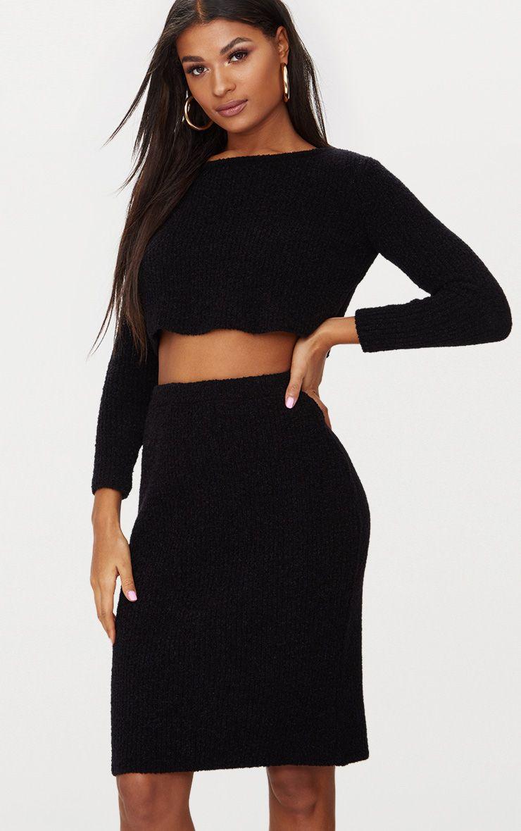 Black Boucle Knit Skirt