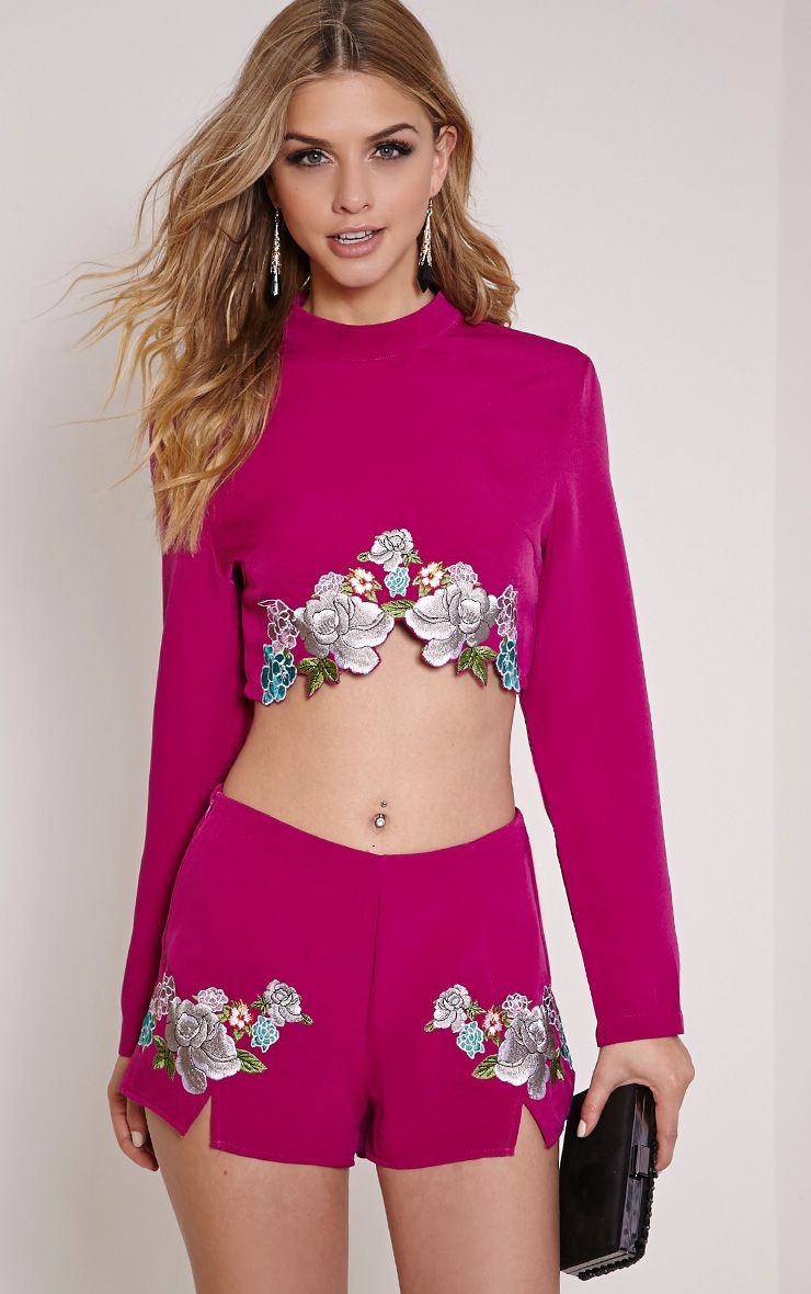 Angie Purple Floral Embroidered Crop Top 1