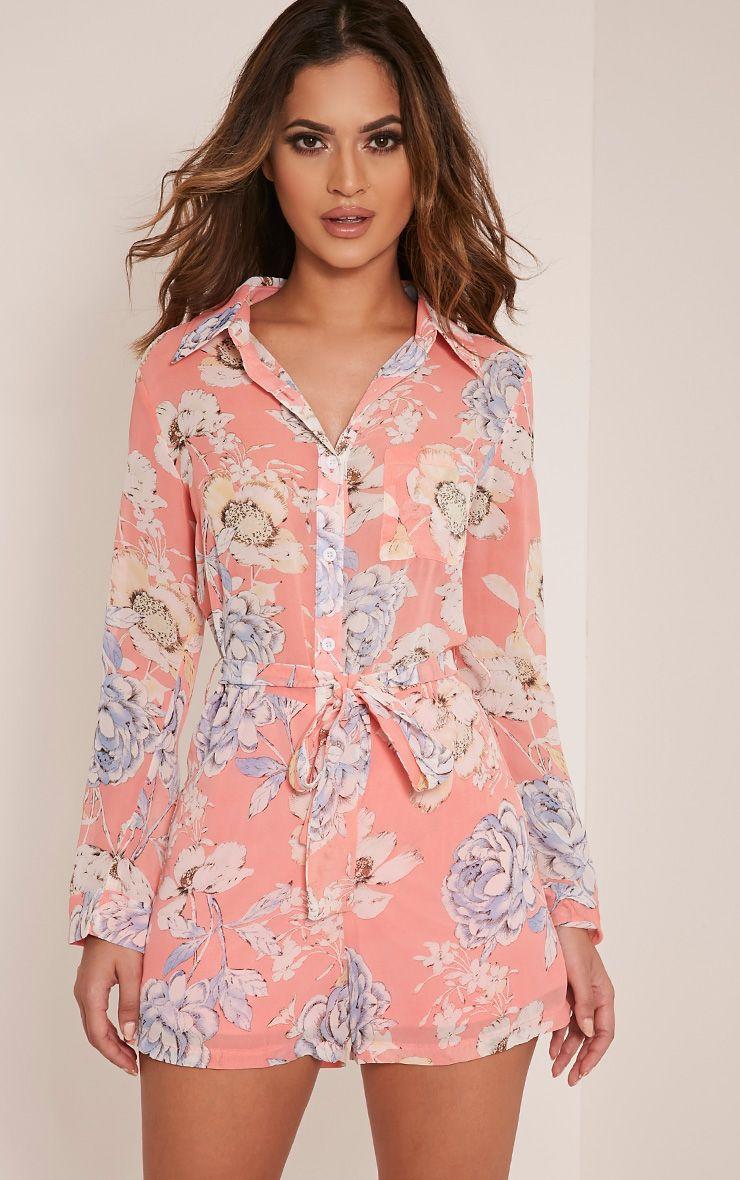 Aria Pink Floral Print Shirt Playsuit 1
