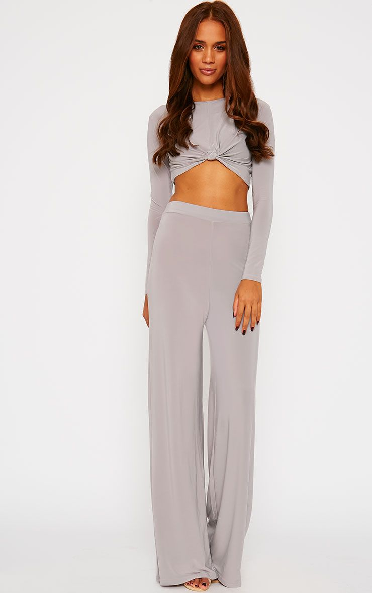 Zafia Grey Palazzo Trousers 1