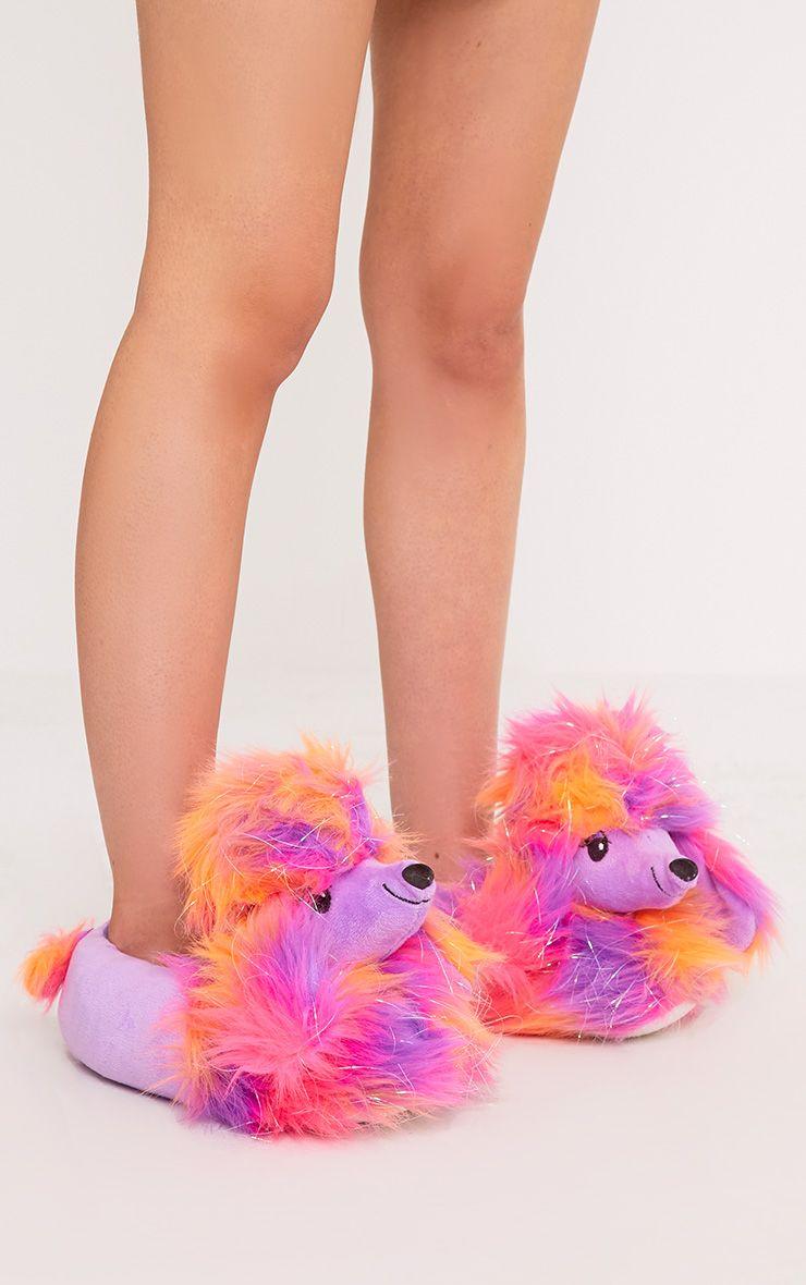 Purple Sparkle Poodle Slippers