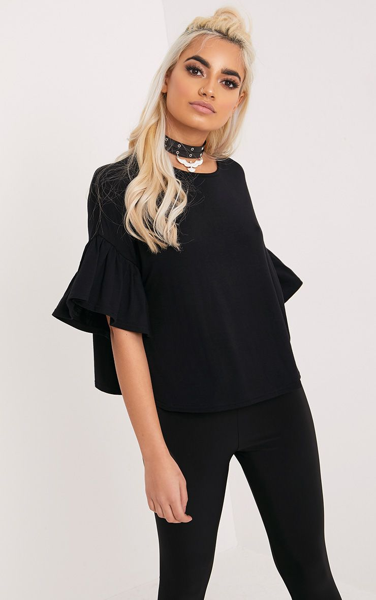 Adnie Black Frill Sleeve T Shirt