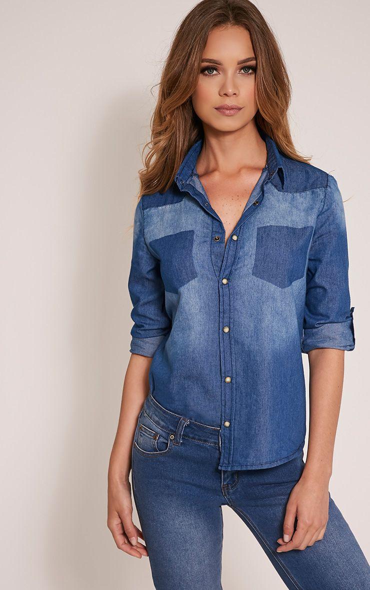 Francine Mid Wash Denim Shirt 1