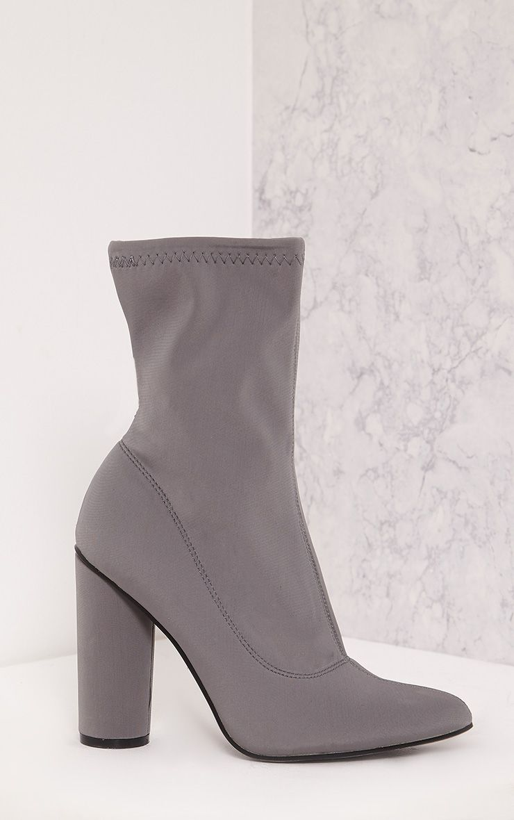 Leanah Grey Neoprene Pointed Heeled Ankle Boots 1