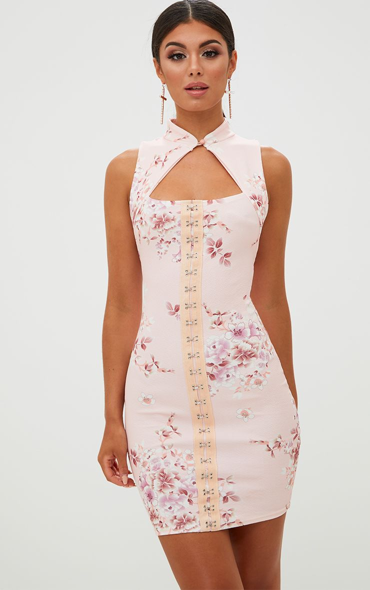 Pink Floral Corset Detail Bodycon Dress