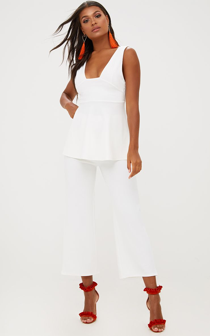 White Cropped Wideleg Trousers