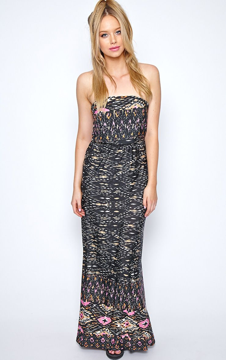 Camden Black Print Strapless Maxi Dress 1