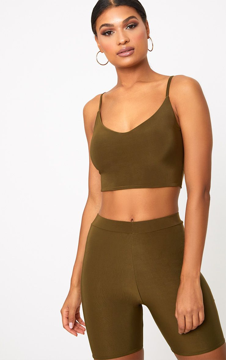 Khaki Slinky Cami Crop Top