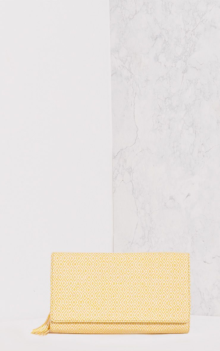 Jasiah Yellow Tapestry Tassel Detail Clutch Bag
