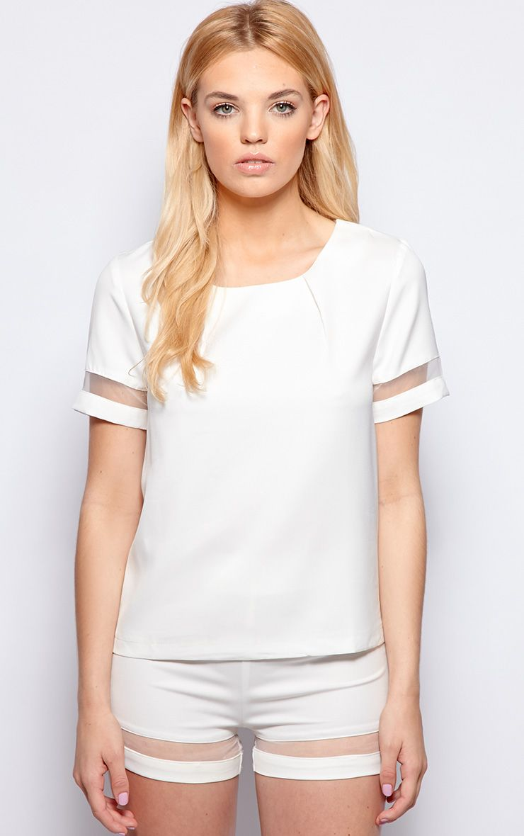 Ashley White Mesh Insert Chiffon Longline Top 1