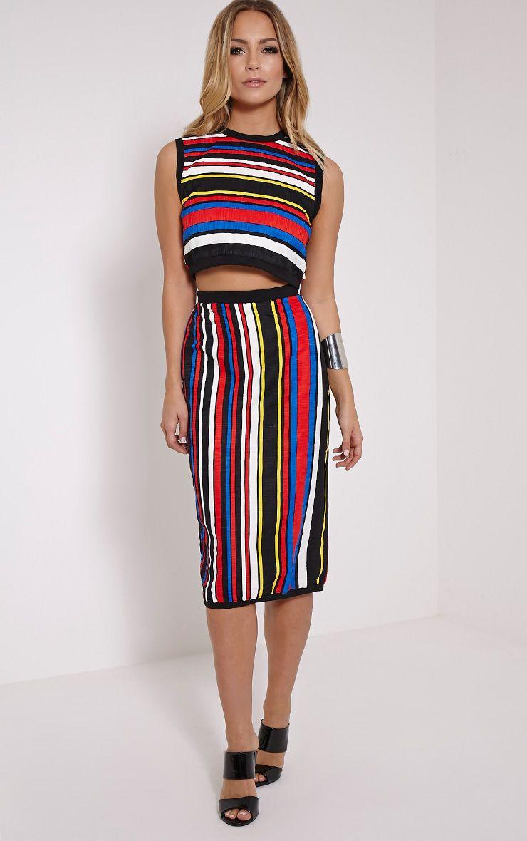 Kamie Multi Coloured Striped Midi Skirt 1