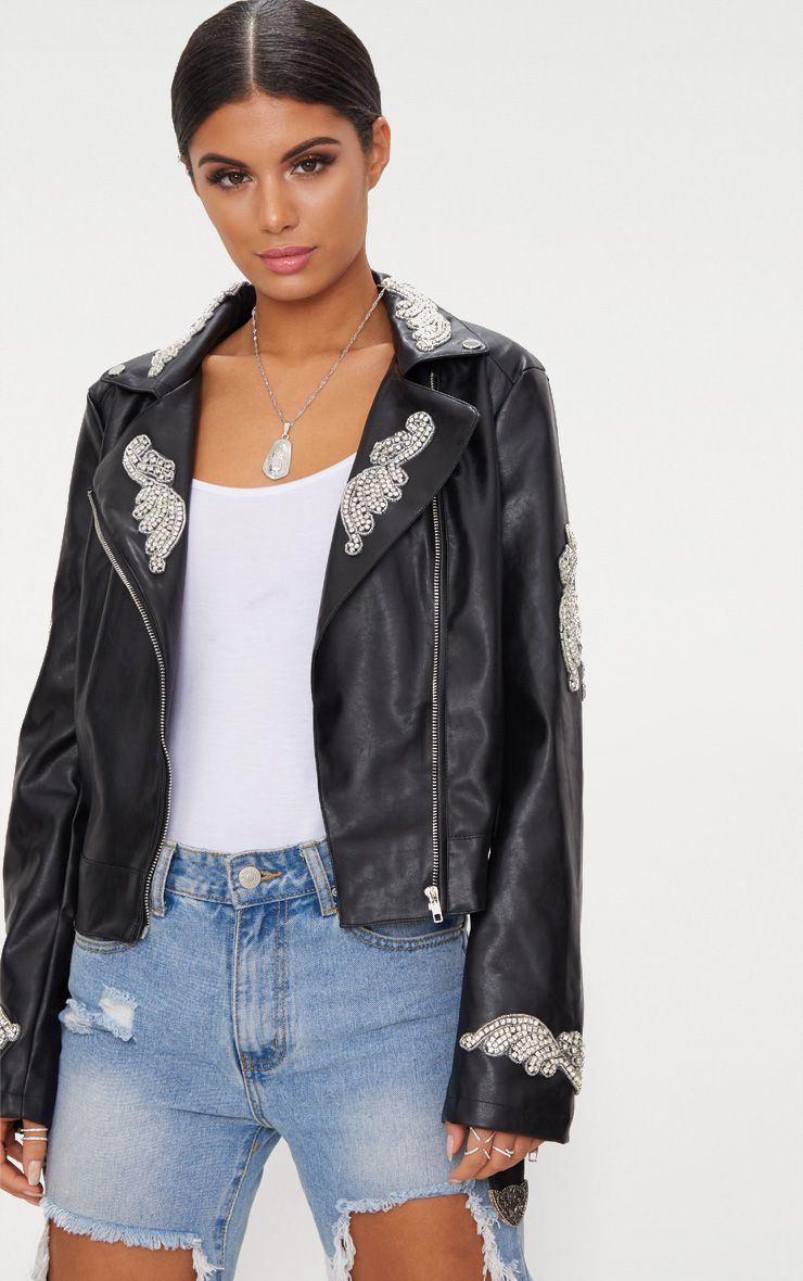 Black Embellished Applique Detail PU Biker Jacket