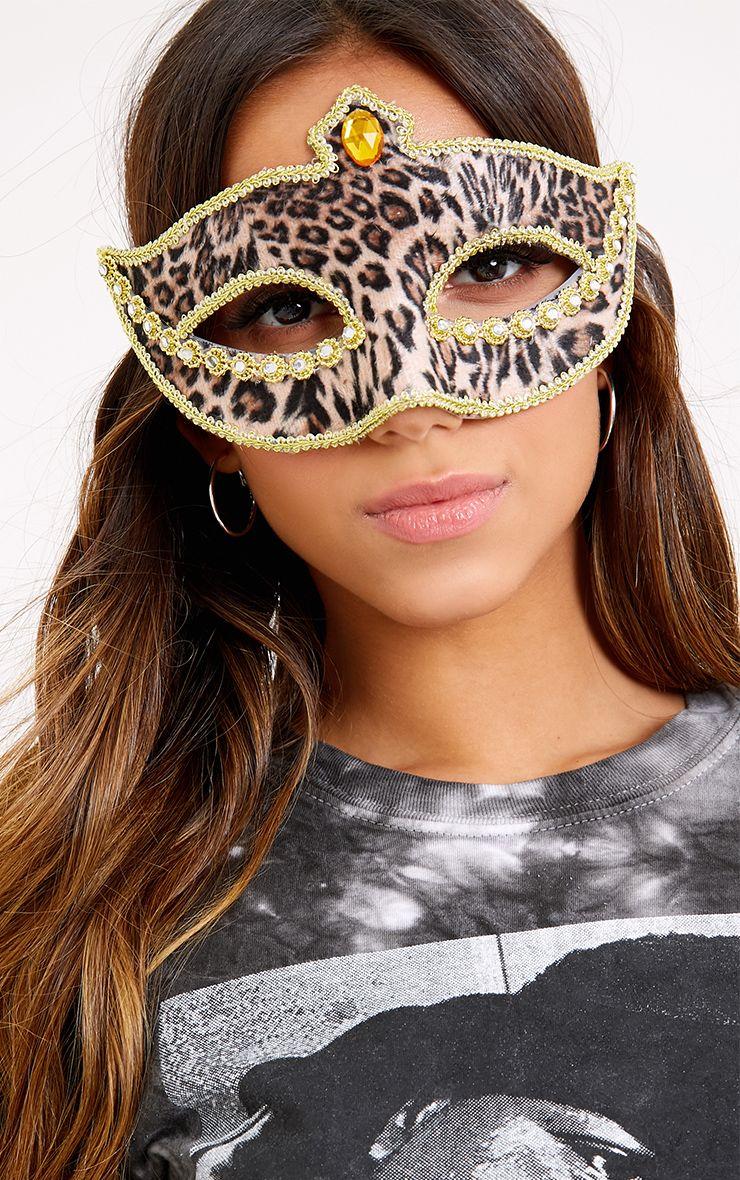 Lorena Leopard Print Jewelled Mask