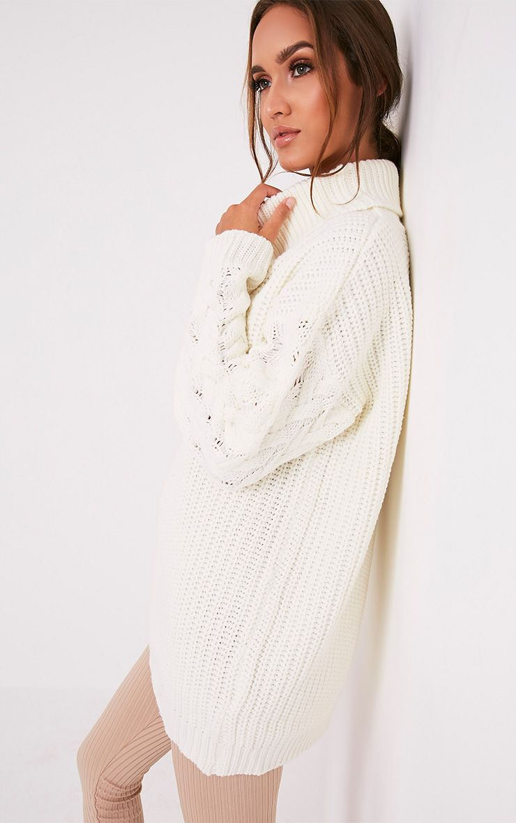 Finolla Cream Oversized Cable Knit Sleeve Jumper 4
