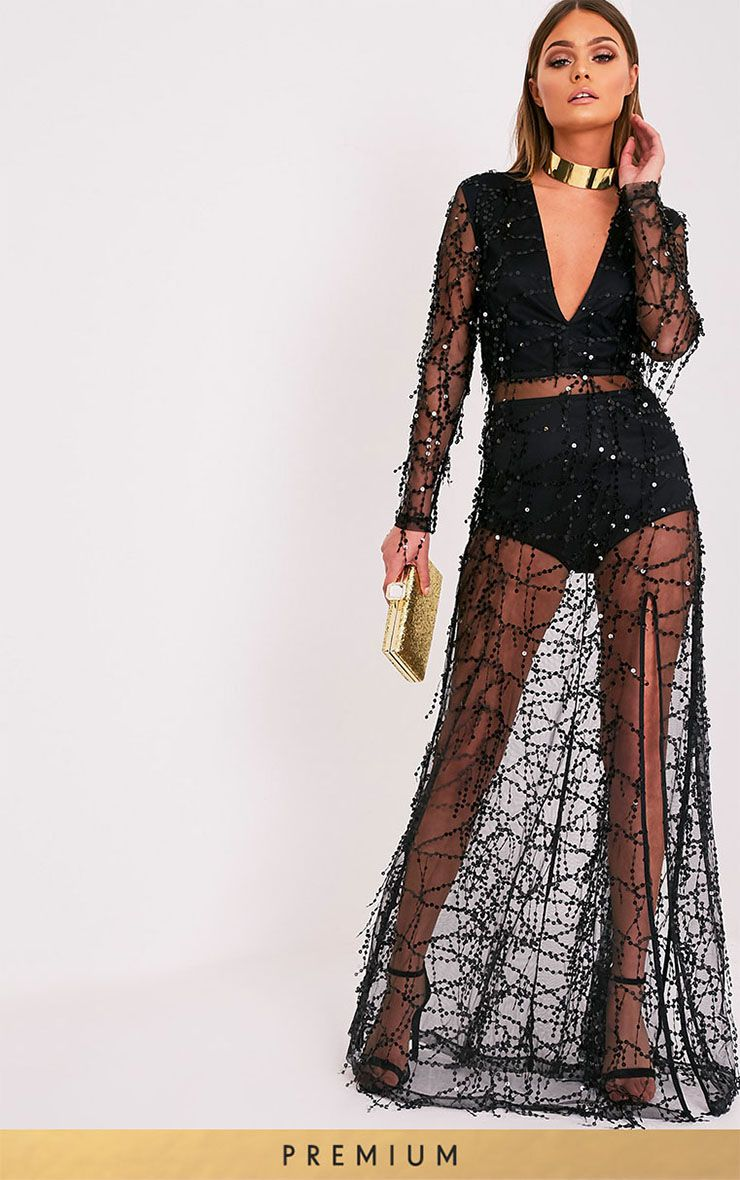 Valentina Black Premium Sequin Long Sleeve Maxi Dress