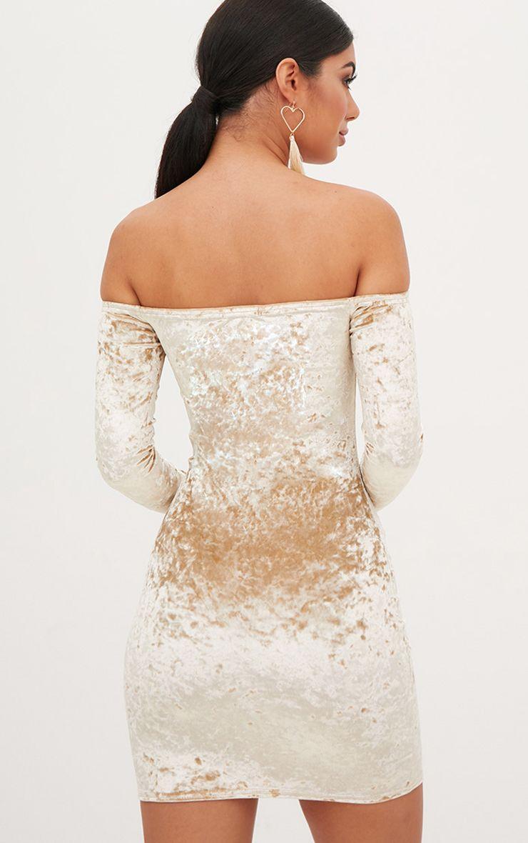 Champagne Crushed Velvet Bardot Bodycon Dress