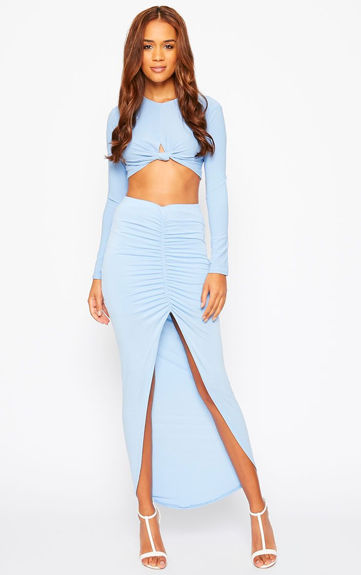 Omari Powder Blue Ruched Front Jersey Maxi Skirt 1