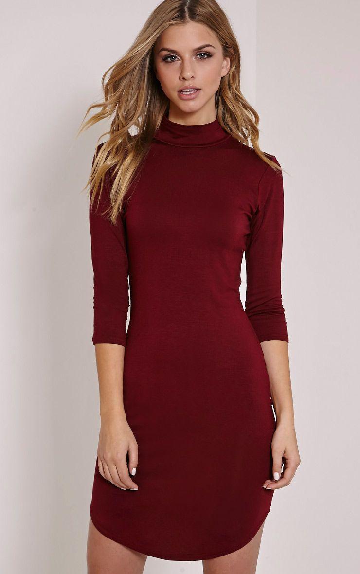 Alby Burgundy 3/4 Sleeve Curve Hem High Neck Dress 1