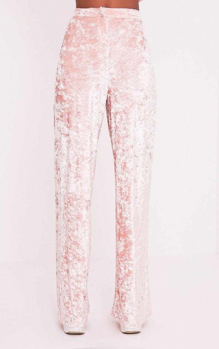 Marisha pantalon coupe ample en velours écrasé blush 3