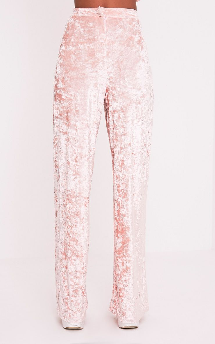 Marisha Blush Crushed Velvet Wide Leg Trousers 3