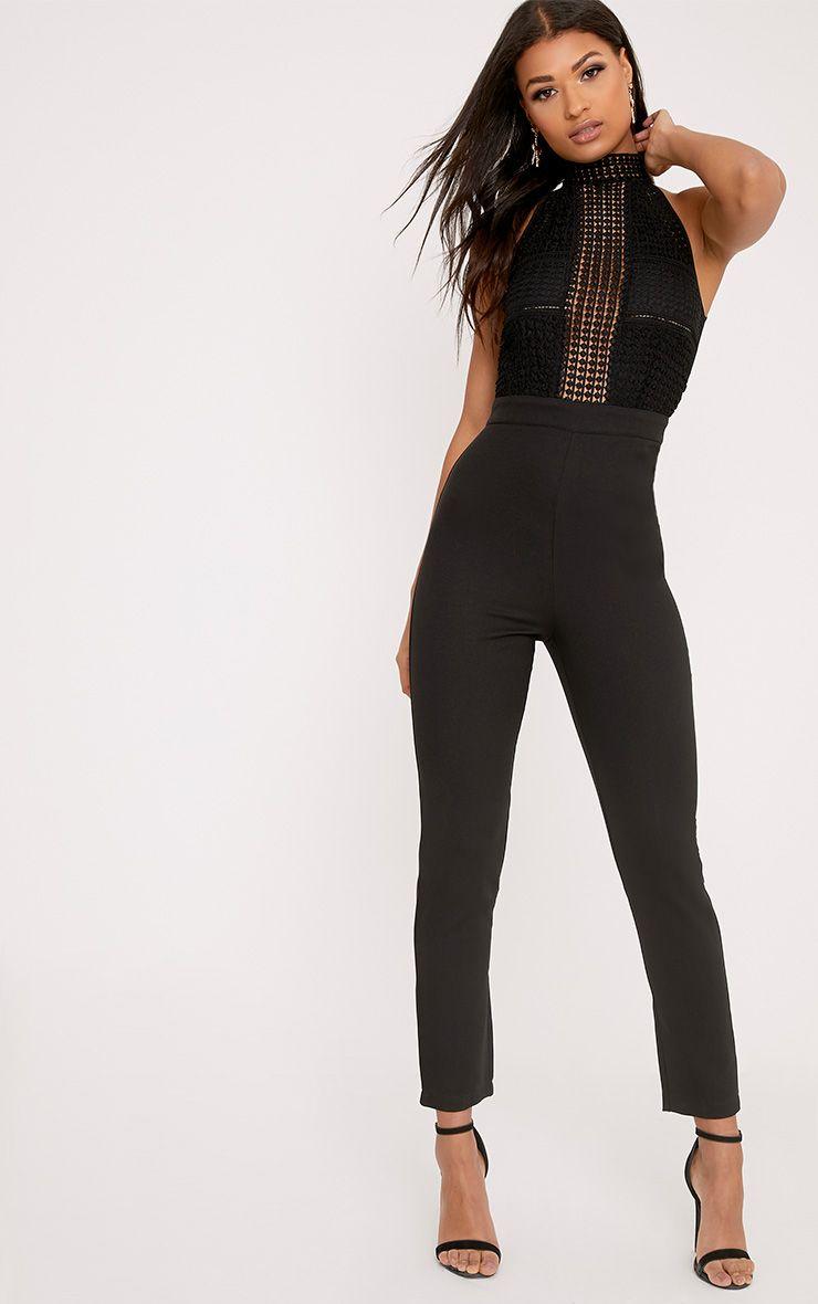 Tasha Black Lace Embroidery Top Jumpsuit