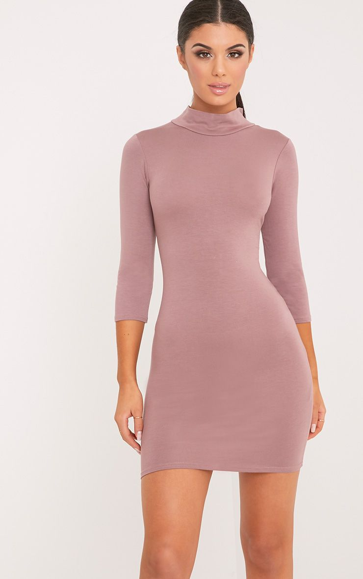 Basic Truffle High Neck Jersey Mini Dress