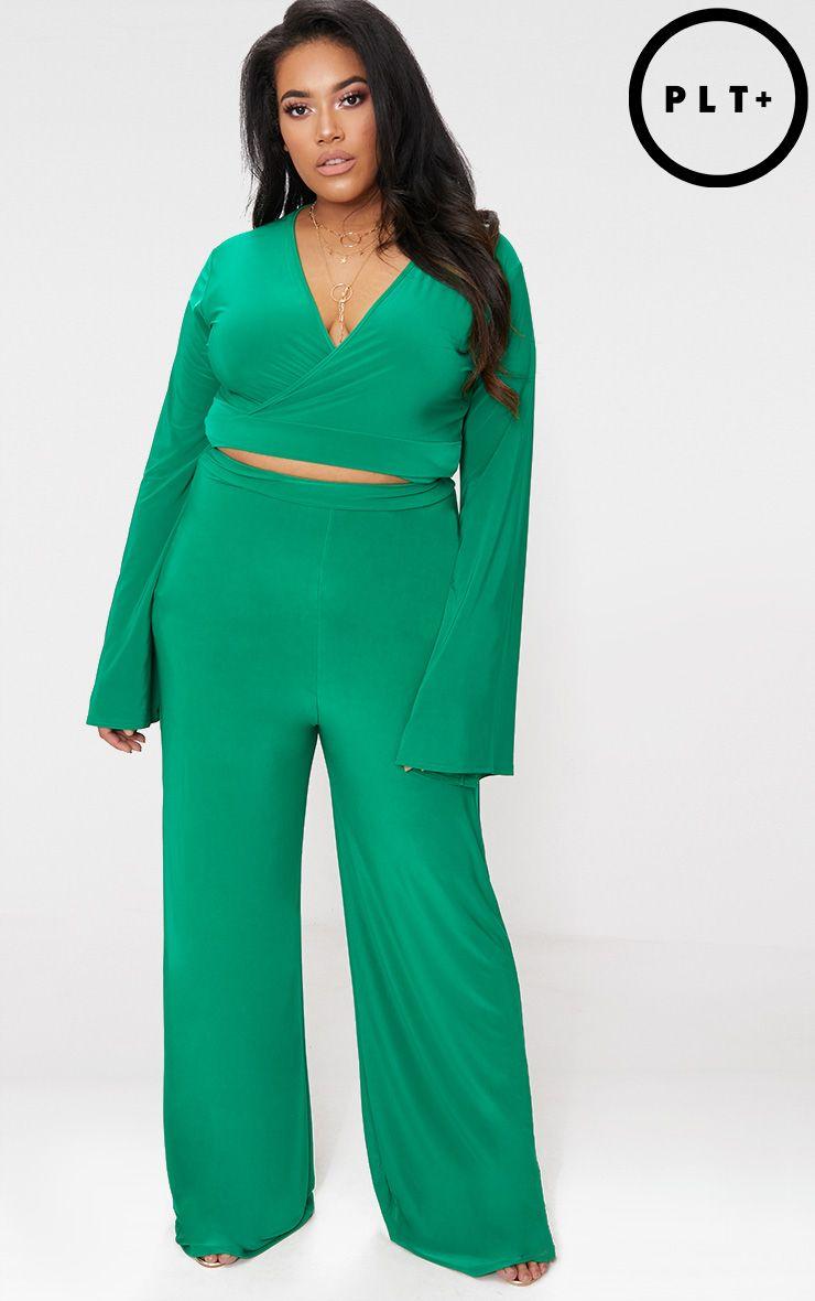 Plus Green Slinky Wide Leg Trousers