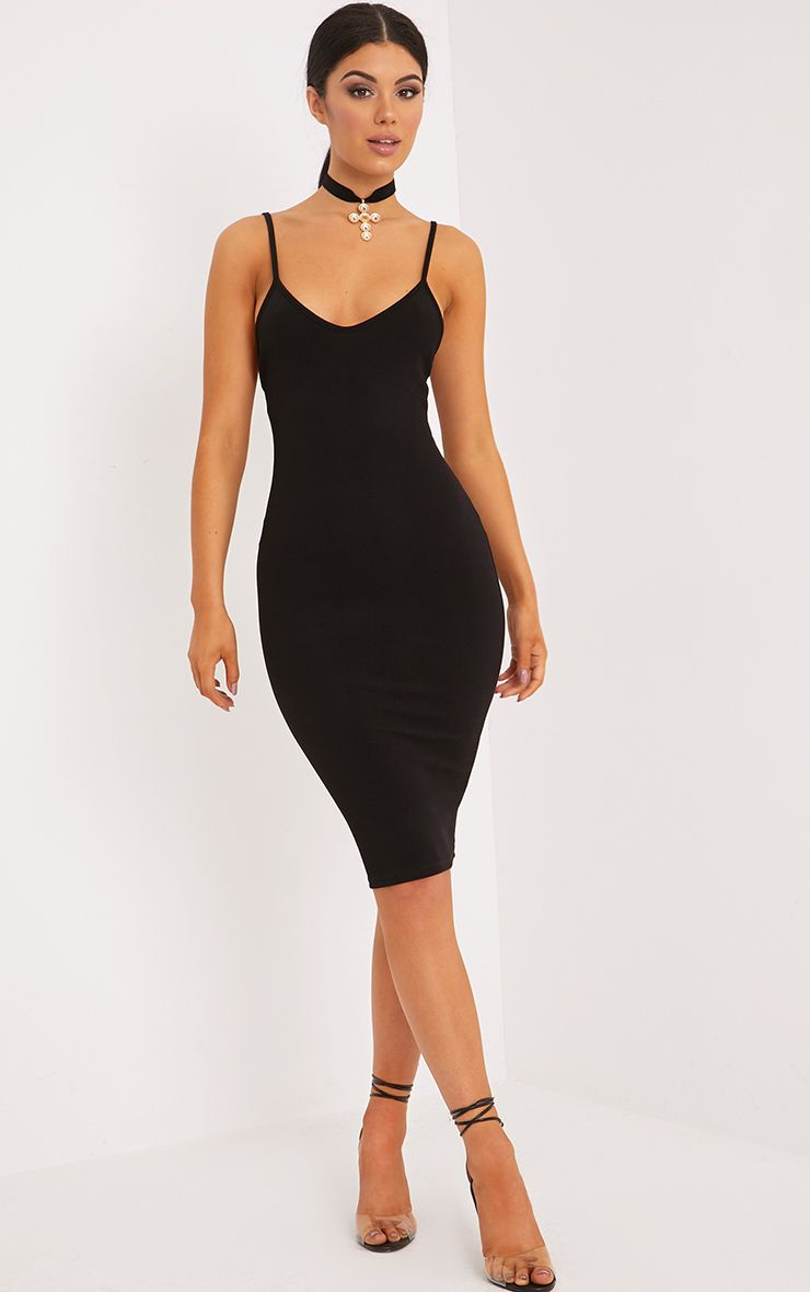Karliah Black Strappy Low Back Midi Dress
