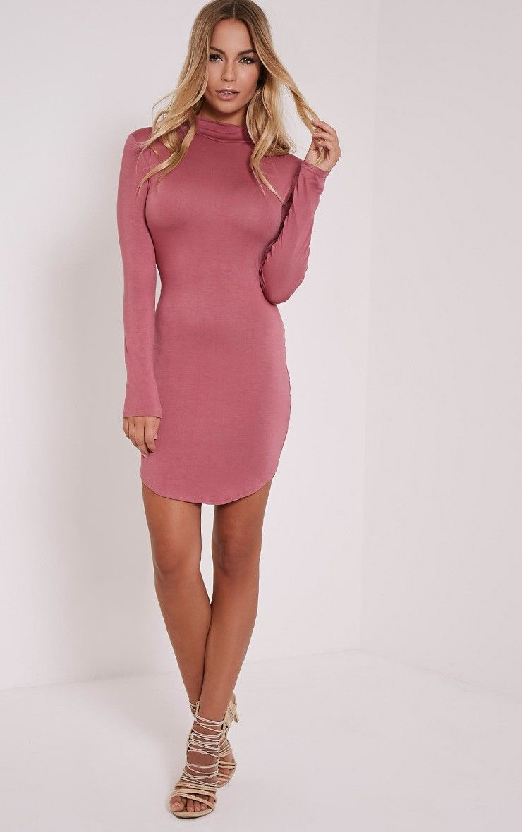 Petite Alby Rose Curve Hem Dress 1