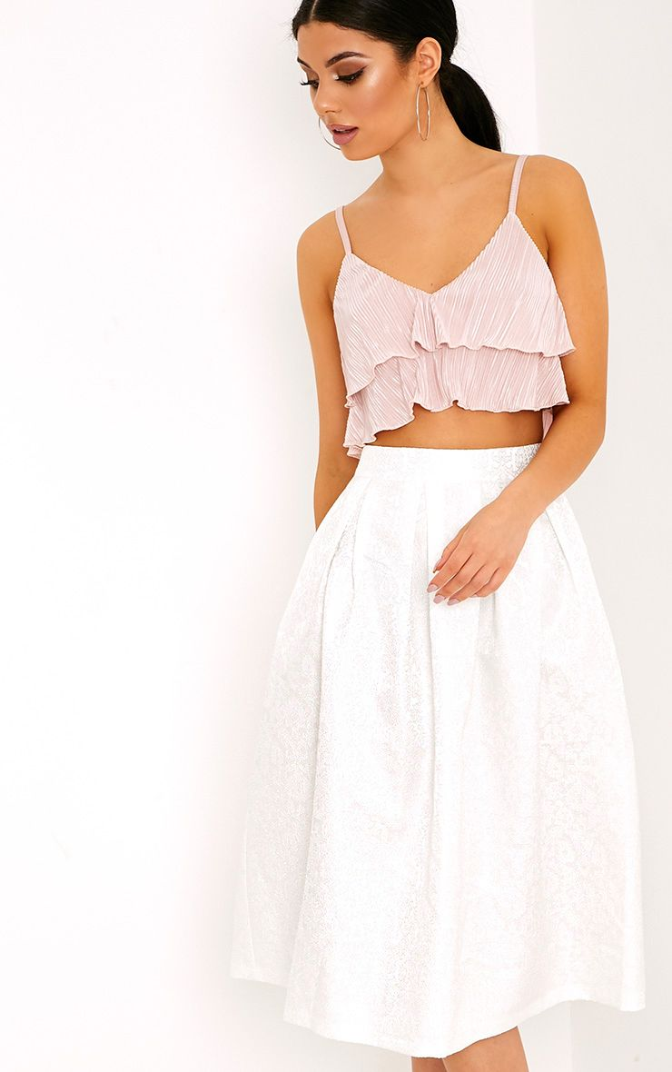 Gisella White Jacquard Full Midi Skirt