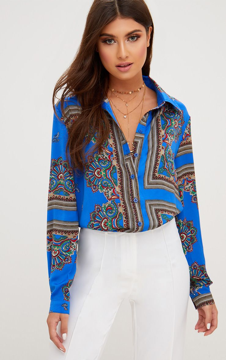 Cobalt Printed Oversized Shirt