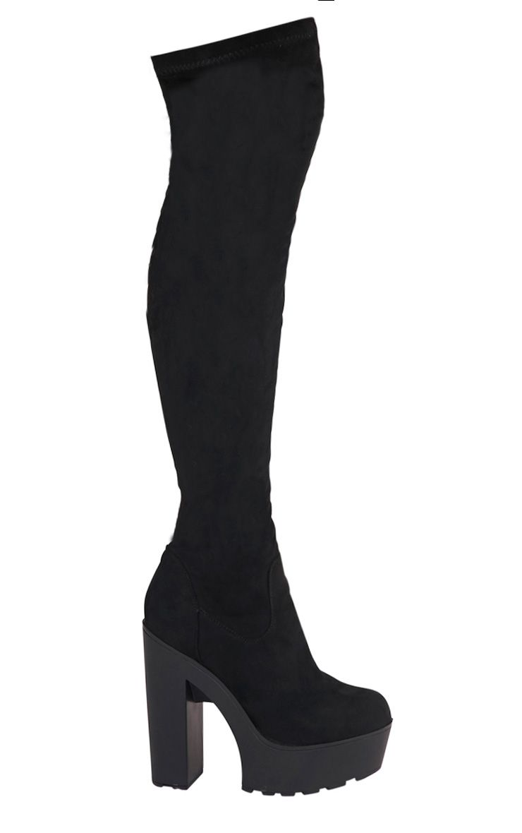 Allie Black Over The Knee Faux Suede Platform Boots 1